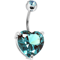 March 14mm Heart Solitaire Birthstone Belly Ring | Body Candy Body Jewelry