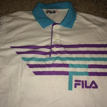 Sale!! Vintage 1980s 1990s FILA Tennis Polo Shirt Made in Italy cotton tee Size US 40