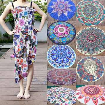 Summer Retro Round Indian Tapestry Wall Hanging Beach Scarf Throw Towel Yoga Mat Blancket Picnic Travel Supplies Home Decor
