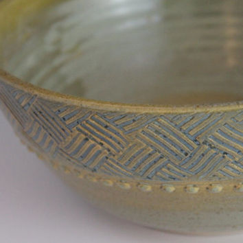 Stoneware Bowl - Green and blue - gift for mom - ready to ship