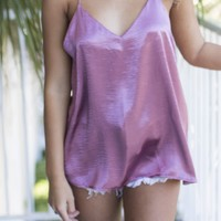 Passion Fruit Mauve Satin Spaghetti Strap Top