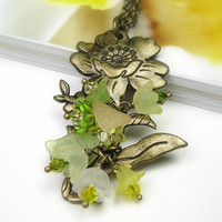 Flower Necklace, Green, Yellow, Botanical, Woodland, Floral, Olivine, Romantic Jewelry, Womens Accessories, Swarovski, Gifts for Gardeners
