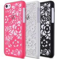 GreatShield Hard Rubber Matte Transparent Flower Case Skin For Apple iPhone 5c