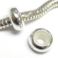 Sterling Silver Focal Round Stopper with Rubber Bead for European 3mm Cable Chain Charm Bracelets