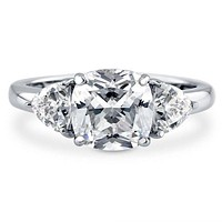 A Perfect 3CT Cushion Cut Russian Lab Diamond Journey Ring