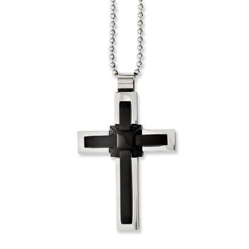 Stainless Steel Black IP-plated and Polished Cross 20in Necklace