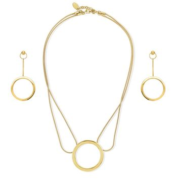 Gold-Tone Ball Bead Open Circle Necklace and Earrings SetBe the first to write a reviewSKU# vs510-02