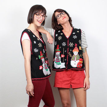 Vintage Set MATCHING Ugly Christmas Sweaters Two Tacky Christmas Sweater Vest Couples Snowman Jumper Cardigan Beaded Knit S M Medium L Large