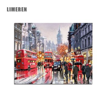 Frameless London Street Landscape DIY Painting By Numbers Acrylic Coloring By Numbers Modern Wall Art Picture Home Decor