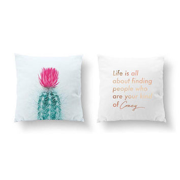 SET of 2 Pillows, Life Is All About, Gold Pillow, Gift For Friend, Cactus Pink, Bed Pillow, Throw Pillow, Cushion Cover, Botanical Decor
