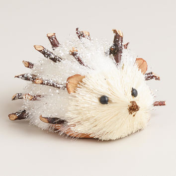 White Glittered Fabric Hedgehog - World Market