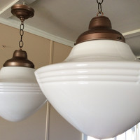 Antique Large White Pendant School Light Very Art Deco 1920s 1 or Pair Available