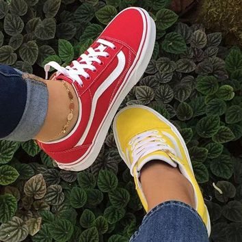 """Vans"" Old School More Color Casual Shoes Men and women classic black cloth shoes Red/Yellow"