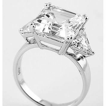 A Flawless 11CT Asscher Cut Russian Lab Diamond Engagement Ring