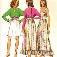 70s Boho Dress and jacket vintage sewing pattern Simplicity 5508 Bust 34 Retro sewing pattern