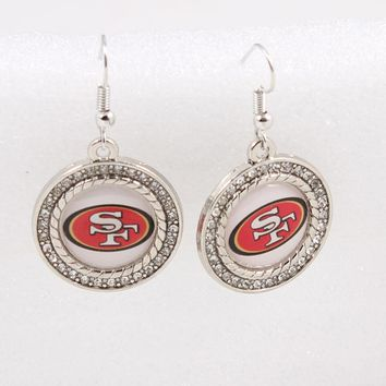 6pairs/lot USA Team San Francisco 49ers Earrings Charms for Fashion Jewelry Earrings Football Fans Sports Earrings Women Jewelry