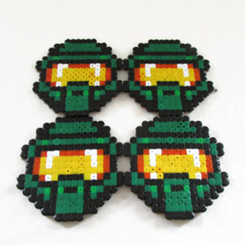 Halo Masterchief drinks coasters , hama / perler bead coaster , video game pixel art , geek gift , uk seller