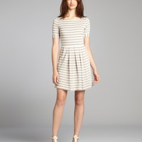 grey and ivory stripe jersey fit-and-flare dress