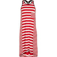 River Island Girls red striped racer back maxi dress