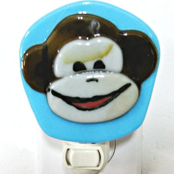 Monkey Baby Night Light  -  Monkey Fused Glass Night Light