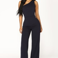 Jordyn One Shoulder Jumpsuit - Navy