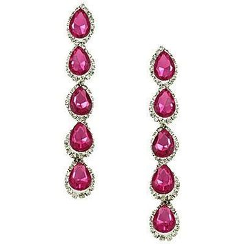 Fuchsia Tear Drop Dangling Earrings