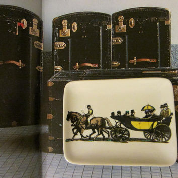 Fornasetti Milano Stagecoach Ceramic Tray Hand Painted From Italy