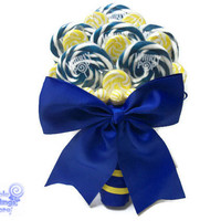 Royal Blue and Yellow Lollipop Bouquet, Candy Bouquet, Lollipop Bouquet, Royal Blue Wedding, Bridal Bouquet, Wedding Bouquet, Rehearsal