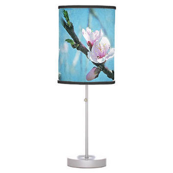 Lamp shade in Spring blossom, drum pendant lamp shade, table lamp stand, hanging light shade, pink, blue flower bud