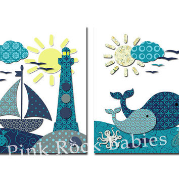 Nautical nursery wall art ocean decor boat whale print kids room decoration baby boy room artwork bathroom poster shower gift teal navy blue