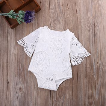New Brand Newborn Baby Girl Bodysuit Lace Princess Girl Summer Baby Girls Clothing, White 0-2T