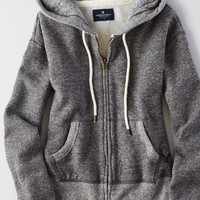 AEO Women's Marled Zip-up Hoodie (True Black)