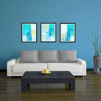 Shallow, Deep, Drift - Set of Three Canvas Print Artwork Modern Abstract Wall Decor Free Shipping Teal, Blue, Yellow White 11x14 12x18 16x20