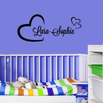 Personalized Your Name In Hearts Vinyl Decor Wall Sticker Kids Bedroom Wall Art Decorative Wall Mural Y-595