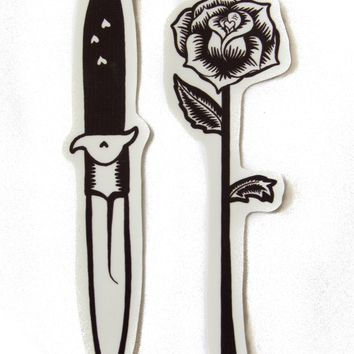 Knife and Rose Tattoo Vinyl Sticker Set