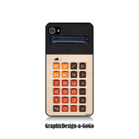 Iphone 4/4s case, Vintage Electronic Calculator design, custom cell phone case
