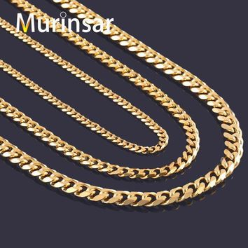 ESBONHS Width 3.6mm/5mm/7mm Stainless Steel Gold Chain Men Necklace 18K Gold Filled Stainless Steel Link Chain Necklace Free Shipping