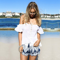 Summer Permeable Embroidery Cotton Shorts