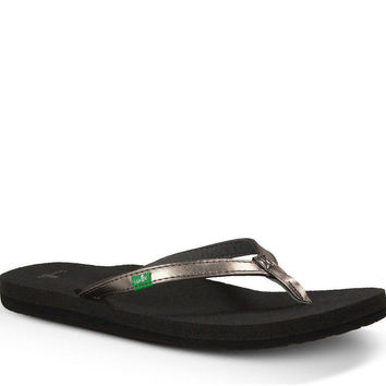 Sanuk Yoga Joy Metallic Pewter Flip Flops