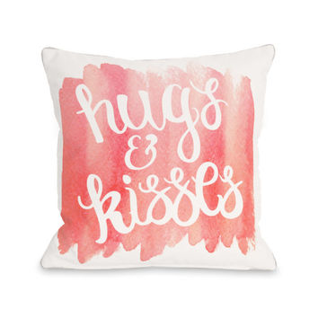Hugs And Kisses Script Watercolor Throw Pillow by OBC
