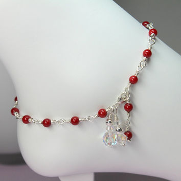 Red Anklet, Wire Wrapped Silver Anklet, Red Bamboo Coral, Adjustable Anklet, Beach Jewelry, Red Stone Anklet