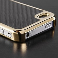 iPhone 4 Phone Case, Black Carbon Fiber Pattern with Slim Gold Chrome Bumper Frame Hard Back Case