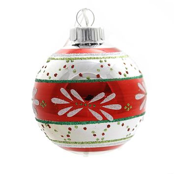 Shiny Brite HS ROUNDS & TULIPS W/REFLECTOR. Christmas Ornament 4027566S Red