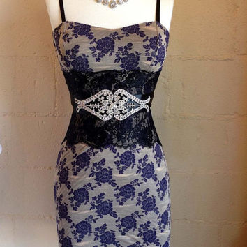 Gorgeous party dress, formal dress, Sexy dress, Black white dress, Hollywood dress, fashion dress, Blue floral dress