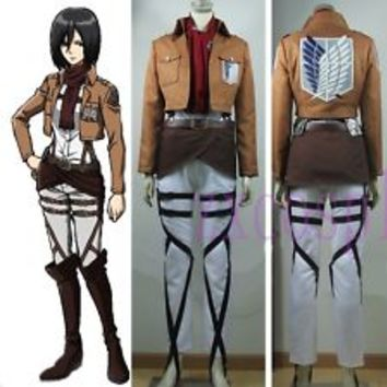 Attack on Titan Training Corps Mikasa Ackerman Cosplay Costume + Shoes Full Set