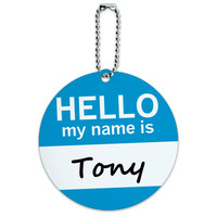Tony Hello My Name Is Round ID Card Luggage Tag