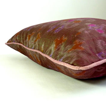 """18"""" Bali Ikat pillow cover, charcoal grey motif with lavender piping and poppy red zipper, """"minx"""""""