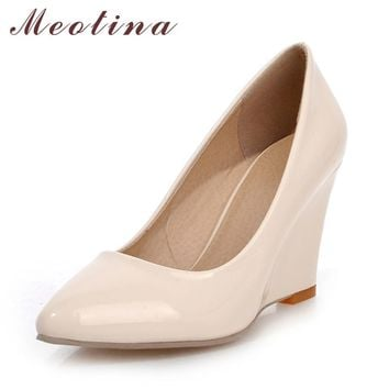 Meotina Wedge Heels Pointed Toe Shoes