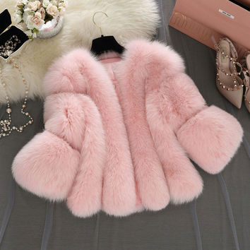 Uwback Faux Fur Gilet 2017 New Brand Winter Pink Faux Fur Coat Plus Size 4XL White/Gray Thick Outwear Jackets TB1283