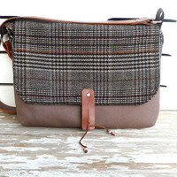 NEW ARRIVAL Cute Messenger Bag -  100% Wool Plaid Canvas Single Strap Shoulder bag / Cross Body Messenger  / School / Travel / Laptop bag